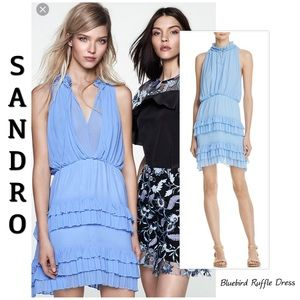 Sandro bluebird ruffle mini dress 1 (US S)